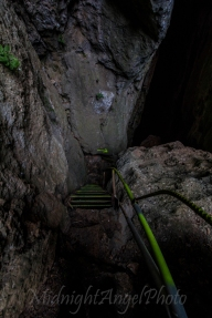 Stairs down into the Cave of the 99 Holy Fathers
