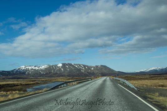 Driving into Þingvellir National Park