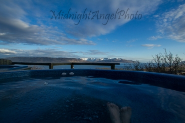 The view from the hot tub at Hotel Glymur...