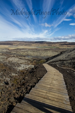 Stairway up the side of  Grábrók Crater