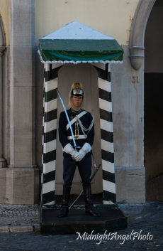 Guard outside the Museu Da Guarda Nacional Republicana, near the ruins of the Carmo Convent