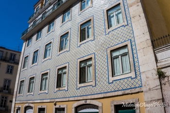 Beautifully tiled buildings are everywhere in Lisbon