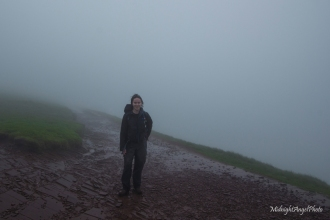 Me, drenched in the clouds and rain on the saddle near Corn Du