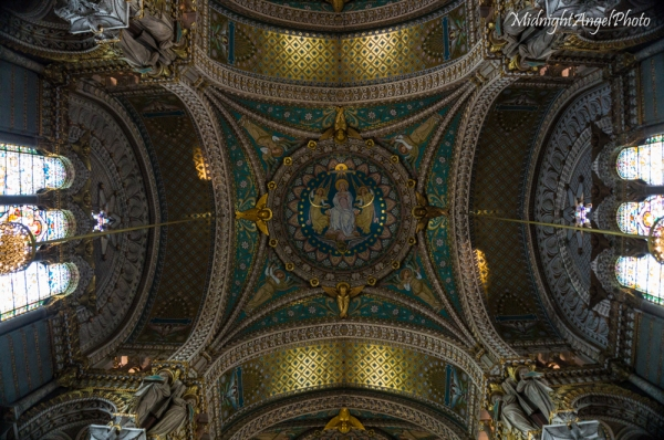 The ceiling of the Basilica of Notre-Dame de Fourvière