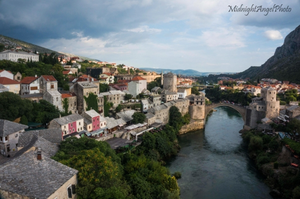 View from the Koski Mehmed Pasha Mosque of Mostar and its Stari Most (Old Bridge)