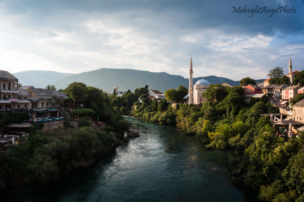 The Koski Mehmed Pasha Mosque from the Stari Most Bridge