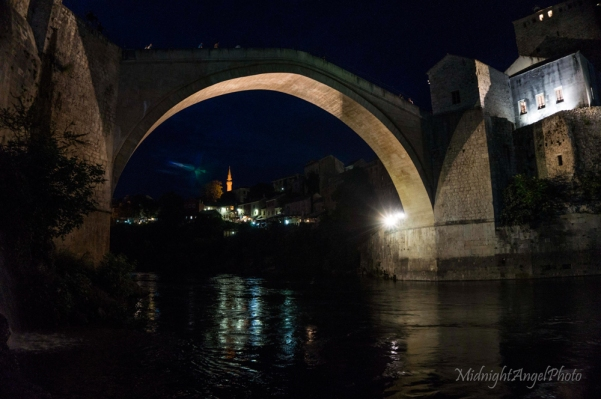 The Stari Most at night in Mostar