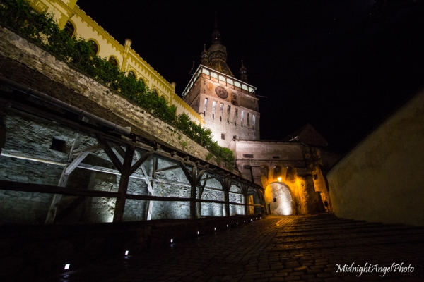 The entrance through the Clock Tower into the old medieval part of Sighișoara