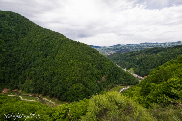 The view of the road below (where you start the climb) from Poenari Castle