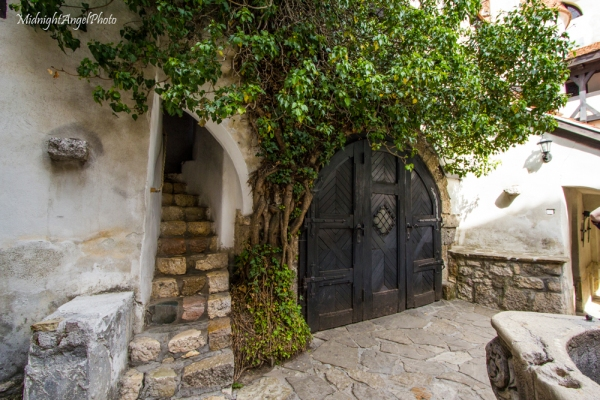 Within the inner courtyard of Bran Castle