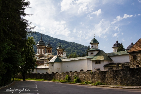 The Sinaia Monastery from the parking lot for the Peleș Castle