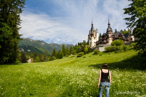 Taking in the view at Peleș Castle in Romania