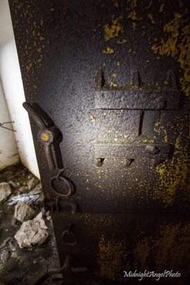 The old rusted door of the command post