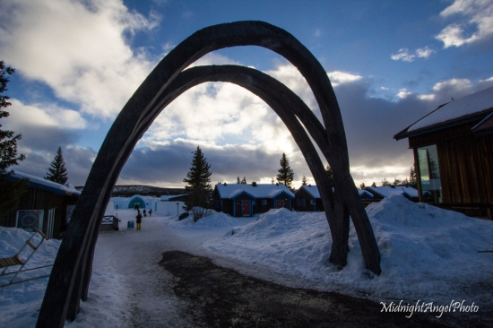 The entrance to the Ice Hotel in Kiruna, Sweden