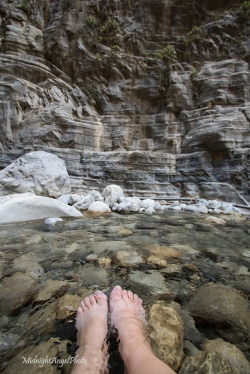 Soaking my feet in the freezing cold waters of the Samaria Gorge