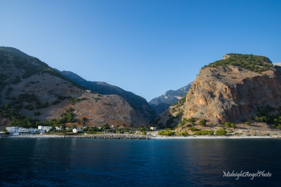Looking back at Agia Roumeli and the Samaria Gorge behind it from the ferry